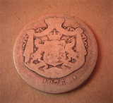 V- 2 lei 1876, rarut, Argint