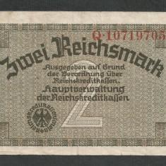 GERMANIA NAZISTA 2 MARCI MARK 1939 1940 1945 [5] Cu zvastica, P-R137b, VF+ - bancnota europa