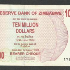 ZIMBABWE 10000000 10.000.000 DOLARI 2008 [2] P-55, XF++ - bancnota africa