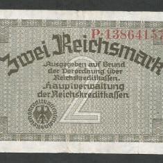 GERMANIA NAZISTA 2 MARCI MARK 1939 1940 1945 [3] Cu zvastica, P-R137b, VF+ - bancnota europa