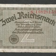 GERMANIA NAZISTA 2 MARCI MARK 1939 1940 1945 [14] Cu zvastica, P-R137b, F - bancnota europa