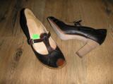 Pantofi dama TIMBERLAND Boot Company originali noi handmade piele 40, Coffee, Cu toc