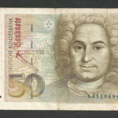 GERMANIA FEDERALA RFG 50 MARCI MARK 1989 VF [1] P-40a, semn POHL-SCHLESINGER - bancnota europa