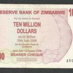 ZIMBABWE 10000000 10.000.000 DOLARI DOLLARS 2008 [9] P-55, VF++ - bancnota africa