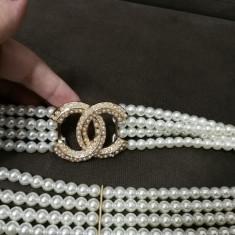 Curea Chanel - Curea Dama Chanel, Marime: Marime universala, Culoare: Alb