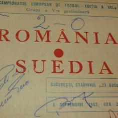 Program meci fotbal ROMANIA - SUEDIA 05.09.1982 (Autograf Nadia Comaneci)