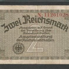 GERMANIA NAZISTA 2 MARCI MARK 1939 1940 1945 [17] Cu zvastica, P-R137b - bancnota europa