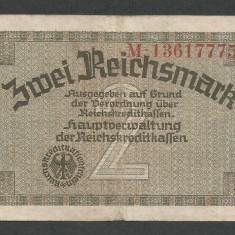 GERMANIA NAZISTA 2 MARCI MARK 1939 1940 1945 [7] Cu zvastica, P-R137b, VF+ - bancnota europa