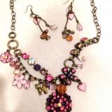 Set bijuterii cu cristale SWAROVSKI vintage (colier+ cercei) - Set bijuterii handmade si fashion