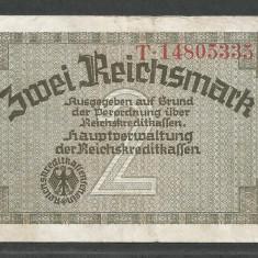 GERMANIA NAZISTA 2 MARCI MARK 1939 1940 1945 [8] Cu zvastica, P-R137b, VF+ - bancnota europa