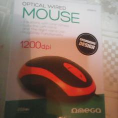 Mouse Omega optic nou 3 butoane, cutie sigilata P11, USB, Optica, 1000-2000