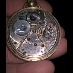 Ceas de buzunar Waltham lacat cu aur 18 k - Ceas de buzunar vechi