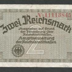 GERMANIA NAZISTA 2 MARCI MARK 1939 1940 1945 [11] Cu zvastica, P-R137b, VF - bancnota europa