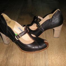 Pantofi dama TIMBERLAND Boot Company originali noi handmade piele 40 - Pantof dama Timberland, Culoare: Coffee, Piele naturala, Cu toc