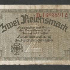 GERMANIA NAZISTA 2 MARCI MARK 1939 1940 1945 [22] Cu zvastica, P-R137b - bancnota europa