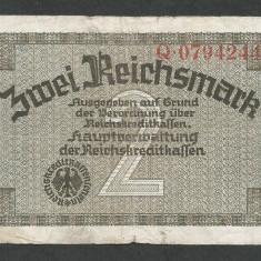 GERMANIA NAZISTA 2 MARCI MARK 1939 1940 1945 [10] Cu zvastica, P-R137a, VF - bancnota europa