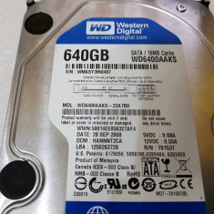 Hard disk 640GB Western Digital Blue WD6400AAKS 7200 RPM - teste reale, 500-999 GB, SATA2, 16 MB
