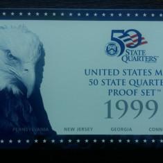SET MONEDE SUA - QUARTER DOLLAR PE STATE PROOF 1999 CU CERTIFICAT - LIT. S, America de Nord