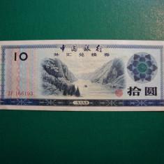 CHINA 10 YUAN 1980 BANCNOTA PT.STRAINI VF - bancnota asia