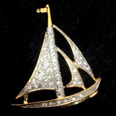 Brosa -placata cu AUR GALBEN 18K si Swarovski - Brosa placate cu aur
