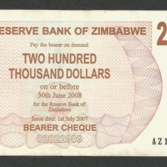 ZIMBABWE  200000  200.000  DOLARI  DOLLARS  2007  [2]  P-49  ,  XF++