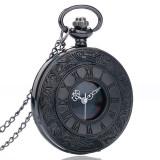 Ceas de buzunar negru cu lant Quartz Vintage