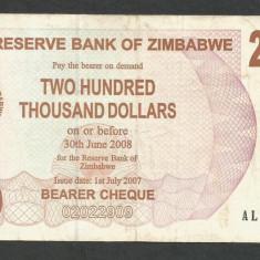 ZIMBABWE 200000 200.000 DOLARI DOLLARS 2007 [12] P-49, VF - bancnota africa