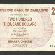 ZIMBABWE 200000 200.000 DOLARI DOLLARS 2007 [7] P-49, XF - bancnota africa
