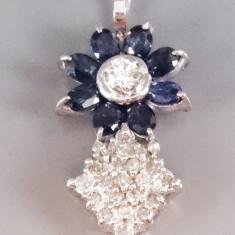 Lant cu pandantiv aur 18k cu safire si diamante - Set bijuterii aur
