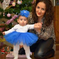 Fusta tutu fetita si bentita cu perle, Marime: 1-2 ani, Culoare: Albastru