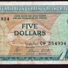 Caraibe 5 Dollars 1965 P#14g - bancnota america