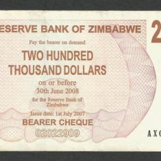 ZIMBABWE 200000 200.000 DOLARI DOLLARS 2007 [5] P-49, XF - bancnota africa