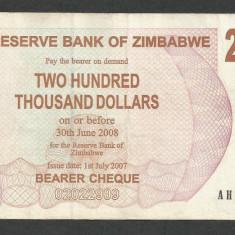 ZIMBABWE 200000 200.000 DOLARI DOLLARS 2007 [03] P-49, XF+ - bancnota africa