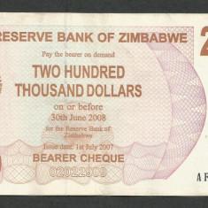 ZIMBABWE 200000 200.000 DOLARI DOLLARS 2007 [05] P-49, XF - bancnota africa