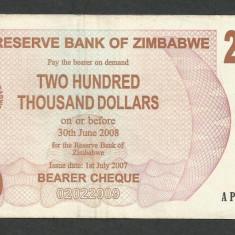 ZIMBABWE 200000 200.000 DOLARI DOLLARS 2007 [11] P-49, VF+ - bancnota africa