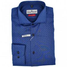 Camasa barbati, Slim Fit, albastra, cu model, Ucu Dima, Cod:0186 Albastra (Culoare: Albastru, Marime camasa Slim Fit: XL)