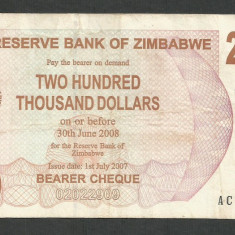 ZIMBABWE 200000 200.000 DOLARI DOLLARS 2007 [18] P-49, VF - bancnota africa