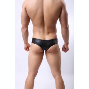 Chiloti barbati / semi tanga - material tip piele, stretch