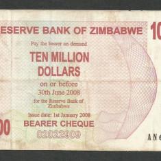ZIMBABWE 10000000 10.000.000 DOLARI DOLLARS 2008 [27] P-55 - bancnota africa