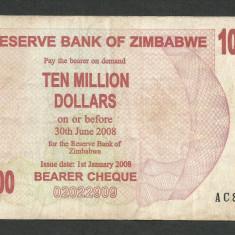 ZIMBABWE 10000000 10.000.000 DOLARI DOLLARS 2008 [22] P-55 - bancnota africa