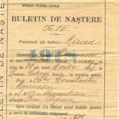 Z40 DOCUMENT VECHI -BULETIN DE NASTERE MIRCEA MARINESCU -L.CATARGI, TULCEA 1918
