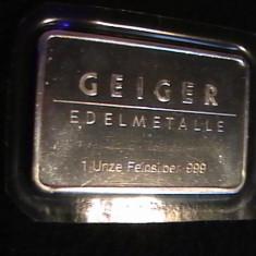 NUMISMATICA-GEIGER-EDEL METALLE-FEIN SILVER 999-1 UNCIE-PROT. PLASTIC-, Europa