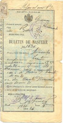 Z18 DOCUMENT VECHI -REGATUL ROMANIEI -BULETIN DE NASTERE ANICUTA LEONTE -1926 foto