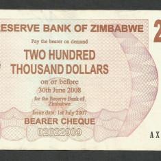 ZIMBABWE 200000 200.000 DOLARI DOLLARS 2007 [09] P-49, XF - bancnota africa