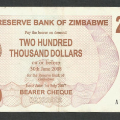 ZIMBABWE 200000 200.000 DOLARI DOLLARS 2007 [02] P-49, XF+ - bancnota africa