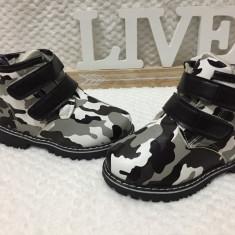 Bocanci imblaniti army ghete scai iarna pantofi negri copii baieti fete 25 26 28 - Bocanci copii, Culoare: Din imagine, Unisex, Piele sintetica