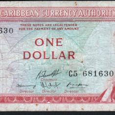 Caraibe 1 Dollar litera L 1965 P#13 l - bancnota america, An: 1937