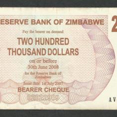 ZIMBABWE 200000 200.000 DOLARI DOLLARS 2007 [14] P-49, VF - bancnota africa