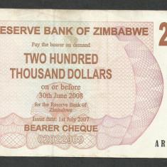 ZIMBABWE 200000 200.000 DOLARI DOLLARS 2007 [06] P-49, XF - bancnota africa