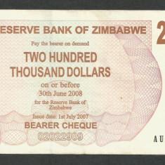 ZIMBABWE 200000 200.000 DOLARI DOLLARS 2007 [3] P-49, XF+ - bancnota africa